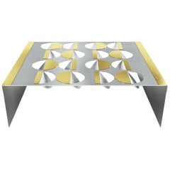 Modern Coffee Table Metal Stainless Steel Brass glass on top Moon In Stock
