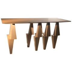 Modern Pyramid Console Table White Oak Wood by Ana Volante Stainless Steel Metal