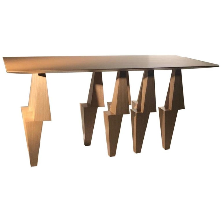 Modern Pyramid Console Table White Oak Wood by Ana Volante Stainless Steel Metal For Sale
