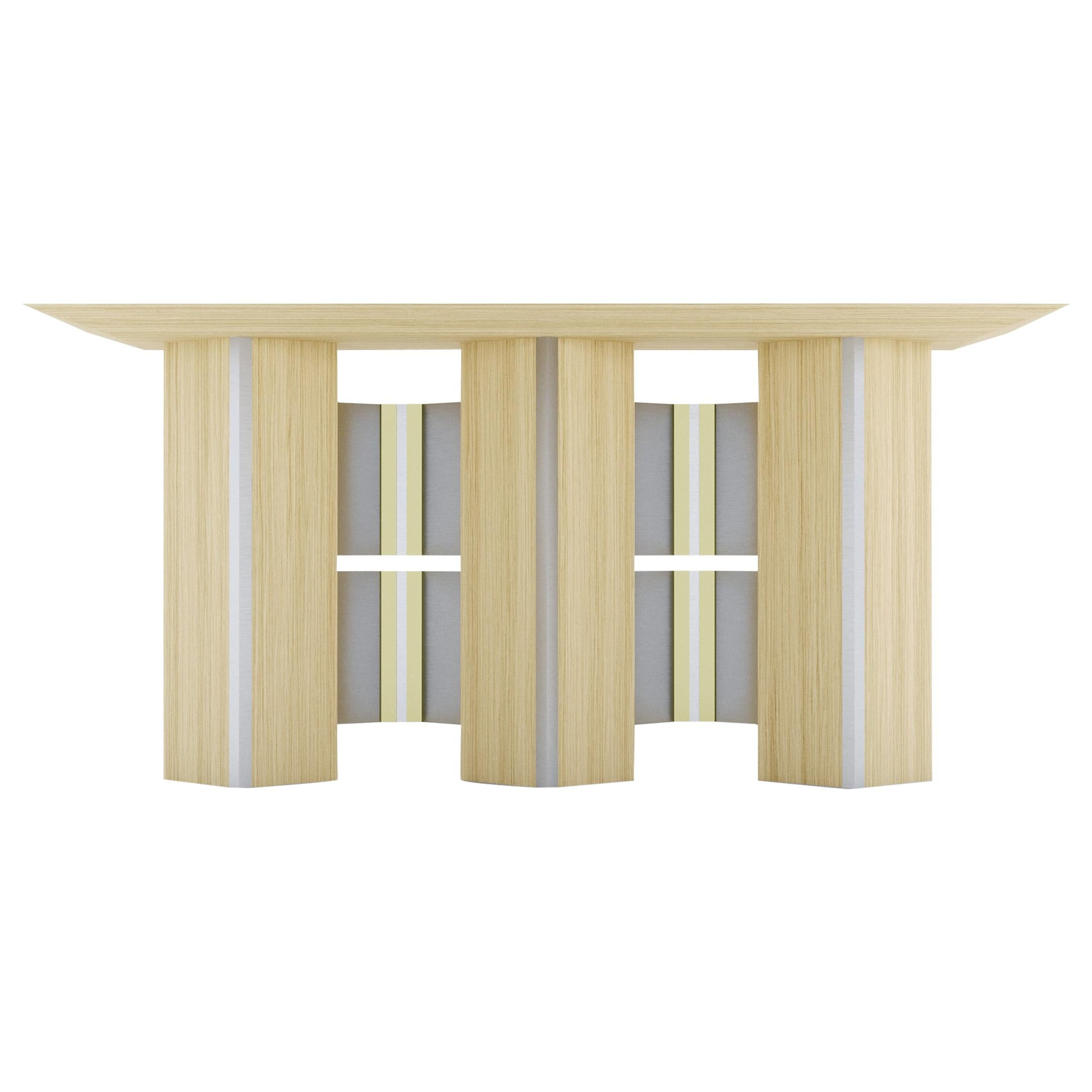 Geometric Console Table White Oak Wood Metal brass StainlessSteel by Ana Volante