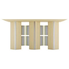 Modern Console Table White Oak Wood Metal brass Stainless Steel by Ana Volante