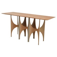 Geometric Console Table White Oak Wood Brass Metal Stainless Steel Ana Volante