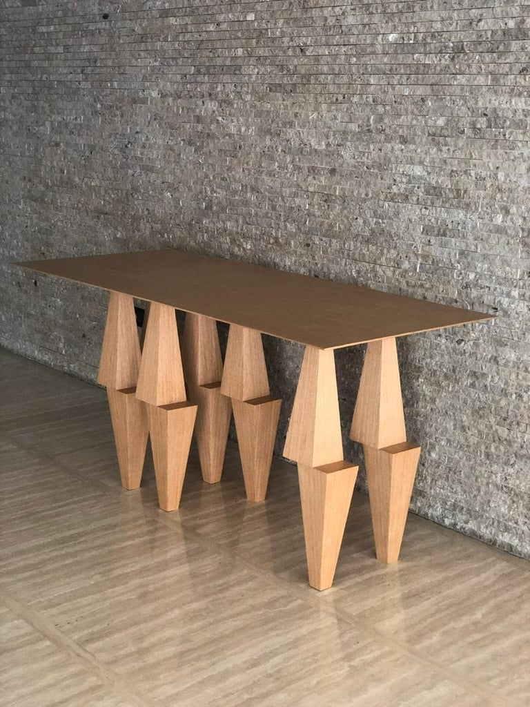American Modern Pyramid Console Table White Oak Wood by Ana Volante Stainless Steel Metal For Sale