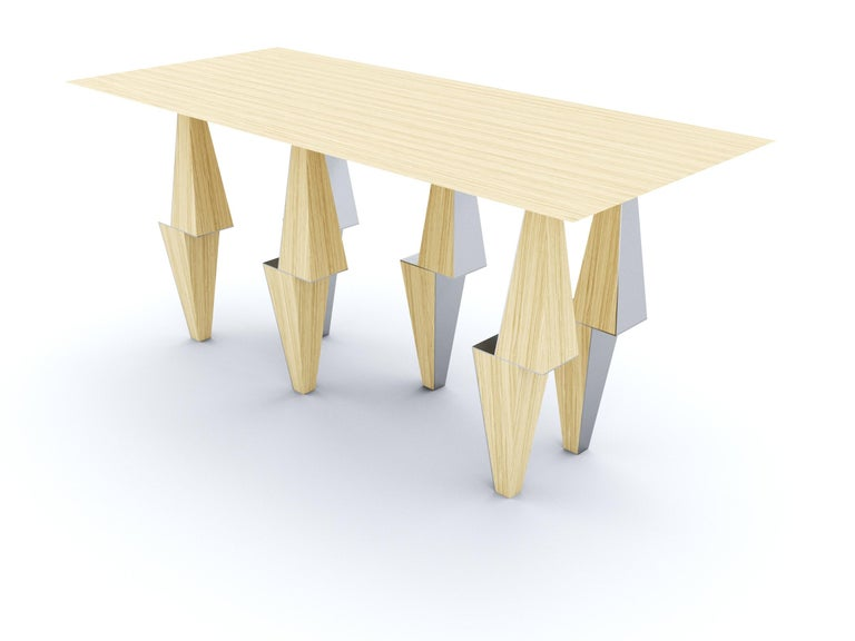 Veneer Modern Pyramid Console Table White Oak Wood by Ana Volante Stainless Steel Metal For Sale
