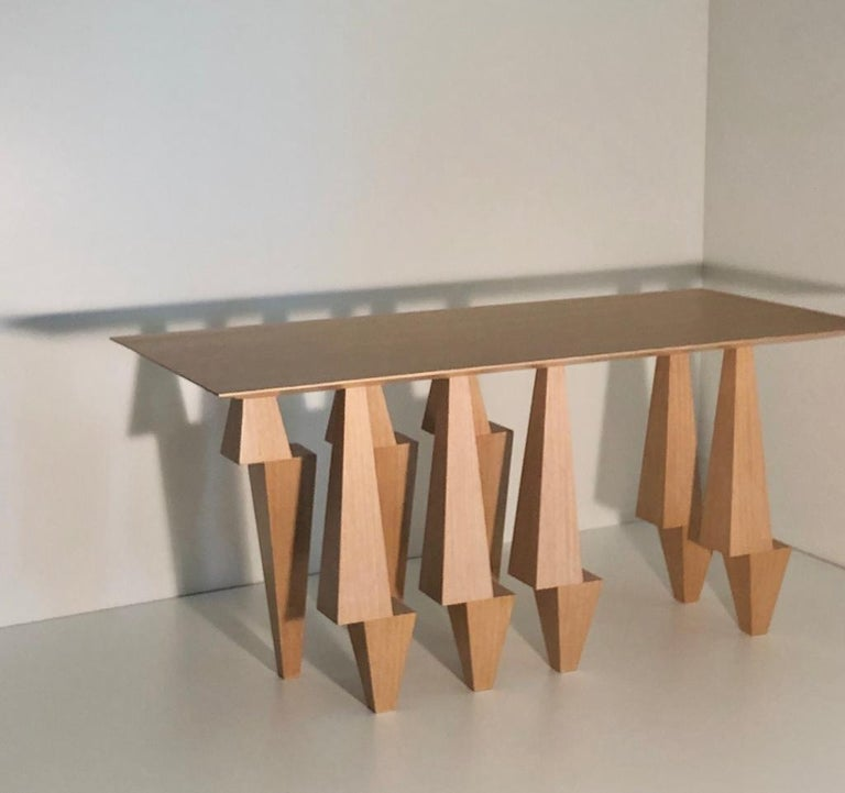 American Geometric Console Table White Oak Wood by Ana Volante Pyramid For Sale
