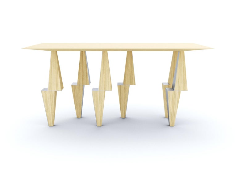 Modern Pyramid Console Table White Oak Wood by Ana Volante Stainless Steel Metal In New Condition For Sale In Miami, FL