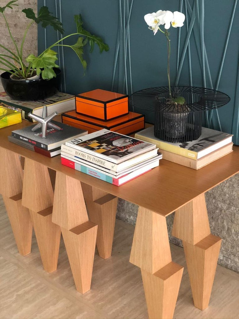 Plywood Modern Pyramid Console Table White Oak Wood by Ana Volante Stainless Steel Metal For Sale