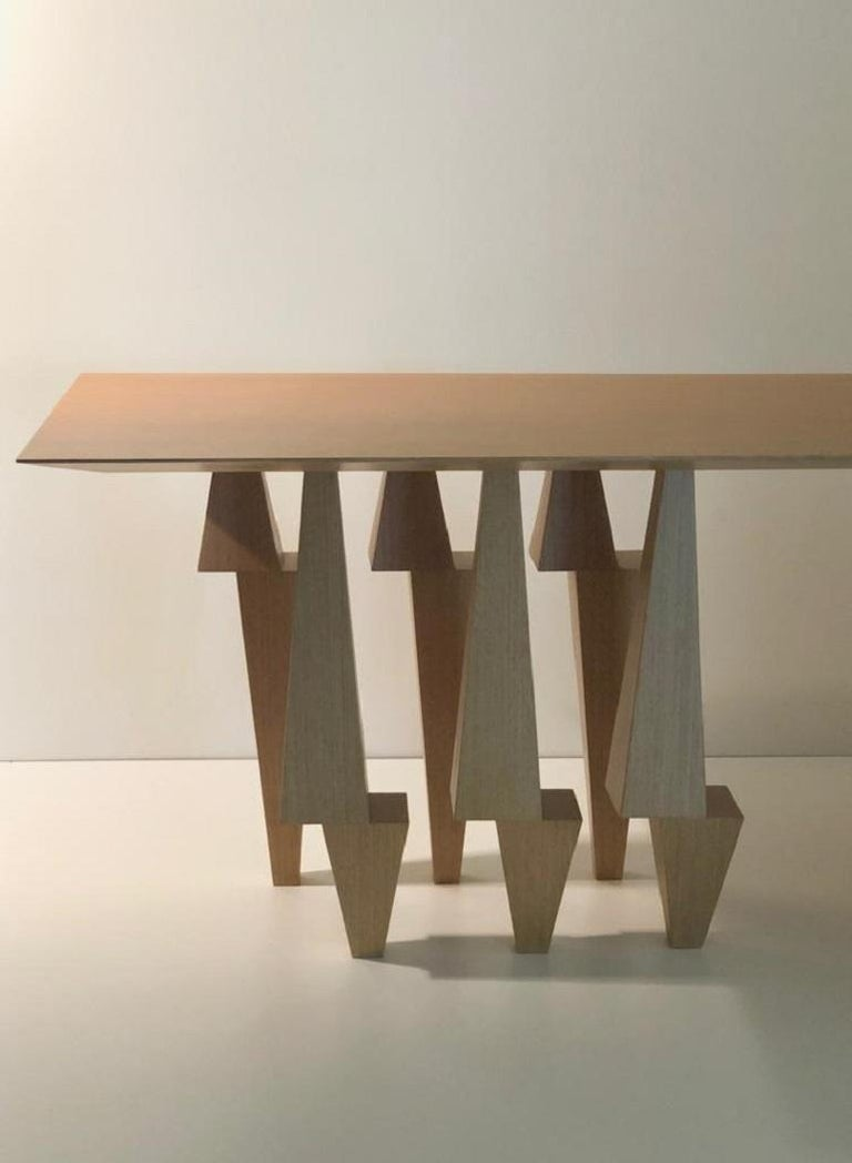 Modern Geometric Console Table White Oak Wood by Ana Volante Pyramid For Sale
