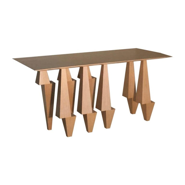 Geometric Console Table White Oak Wood by Ana Volante Pyramid For Sale