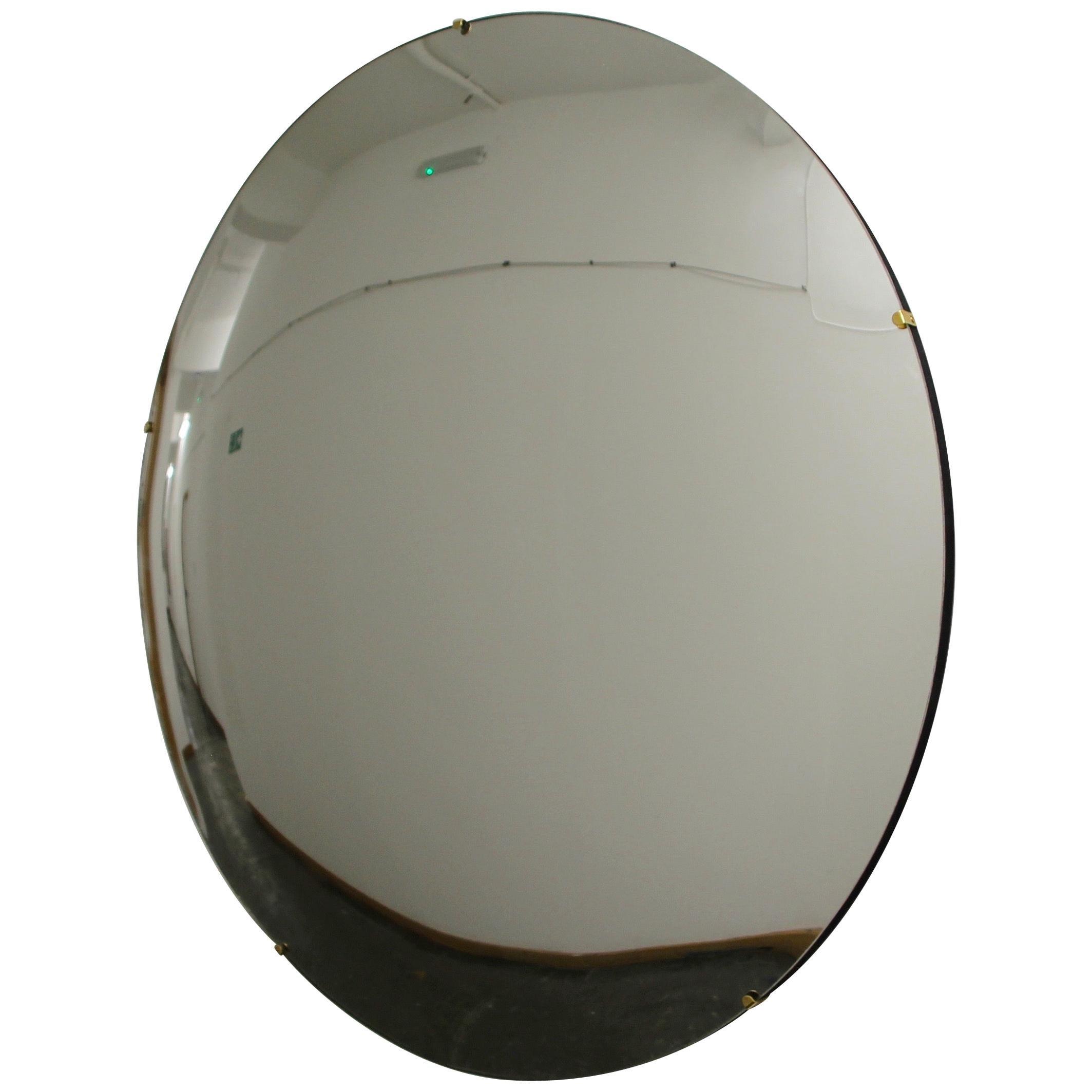 Orbis™ Round Convex Modern Handcrafted Frameless Mirror - Large