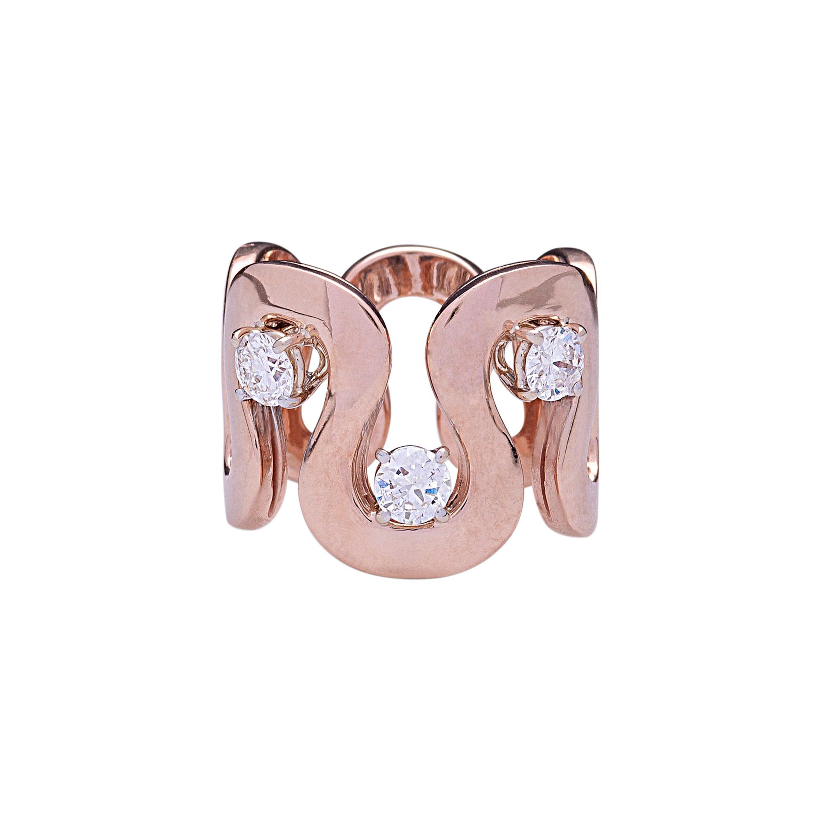 "Modern Handcrafted Gold 0.90 Karat White Diamonds ""Wave"" Cocktail Design Ring"