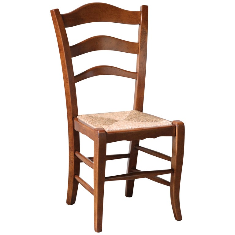 Modern Handcrafted Italian Oak Ladder Back Rush Seating Dining Chairs Eight