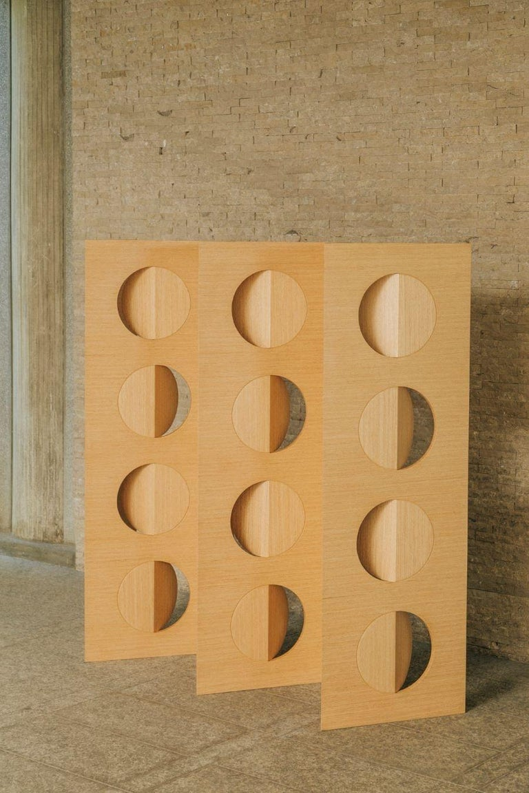 Oak wood moon divider