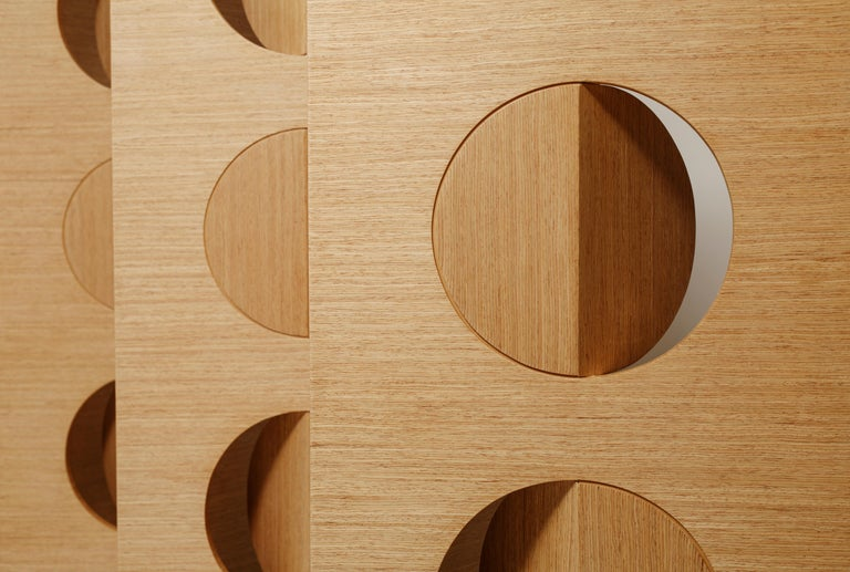 American Geometric Oak Room Wood Divider Screen Moon by Ana Volante  For Sale