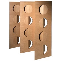 Modern Oak Room Wood Divider Screen Moon by Ana Volante in Stock