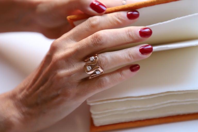 Rose Cut Modern Handcrafted Gold 0.90 Karat White Diamonds