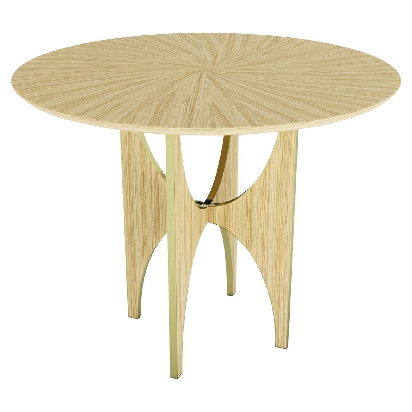 Geometric Round Side Table White Oak Wood Brass Metal Stainless Steel