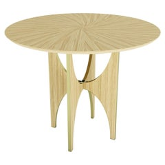 Geometric Round Side Table White Oak Wood Brass Metal Stainless Steel