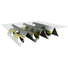Modern Coffee Table Stainless Steel Metal Brass by Ana Volante in Stock