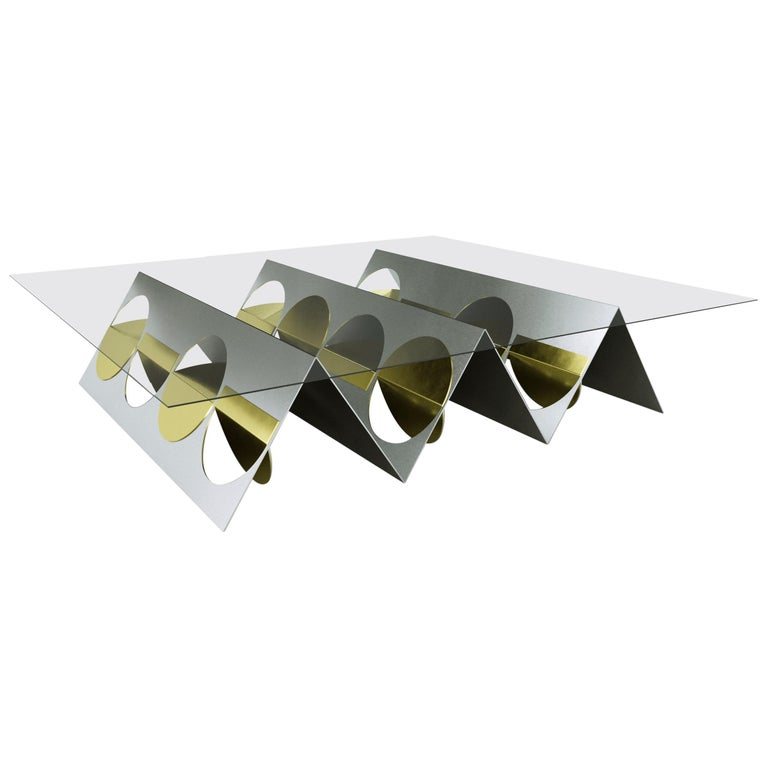 Modern Coffee Table Stainless Steel Metal Brass by Ana Volante in Stock For Sale