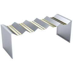 Geometric Bench Metal Stainless Steel Brass by Ana Volante 21st century In stock