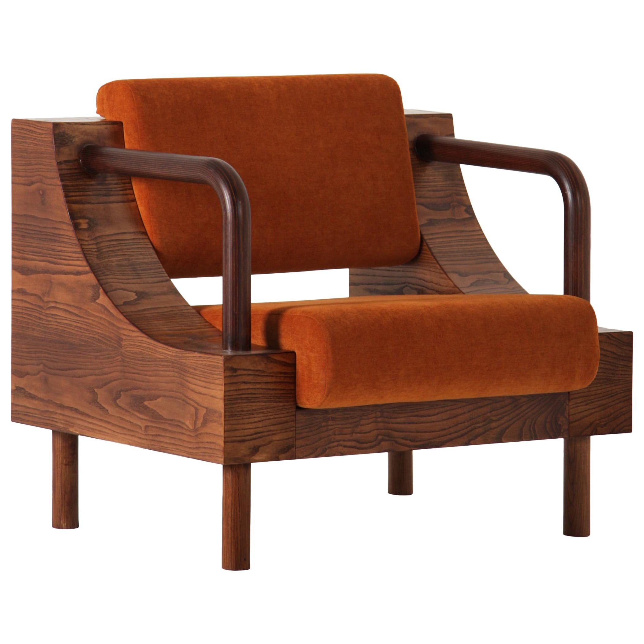 Modern Handcrafted Wooden Armchair with Velvet