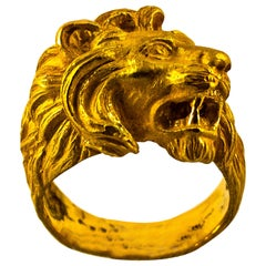 """Modern Handcrafted Yellow Gold """"Lion"""" Cocktail Ring"""