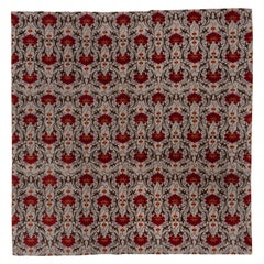 Modern Hand Knotted Nepalese Square Rug, Red Suzani Designed All-Over Field