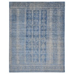 Modern Handmade Area Rug in Beige New Zealand Wool