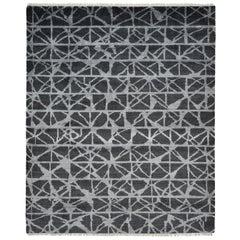 Modern Handmade Area Rug in Gray Wool and Silk Blend