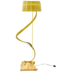 Modern Handmade Bentwood Floor Lamp with Brass Elements by Raka Studio