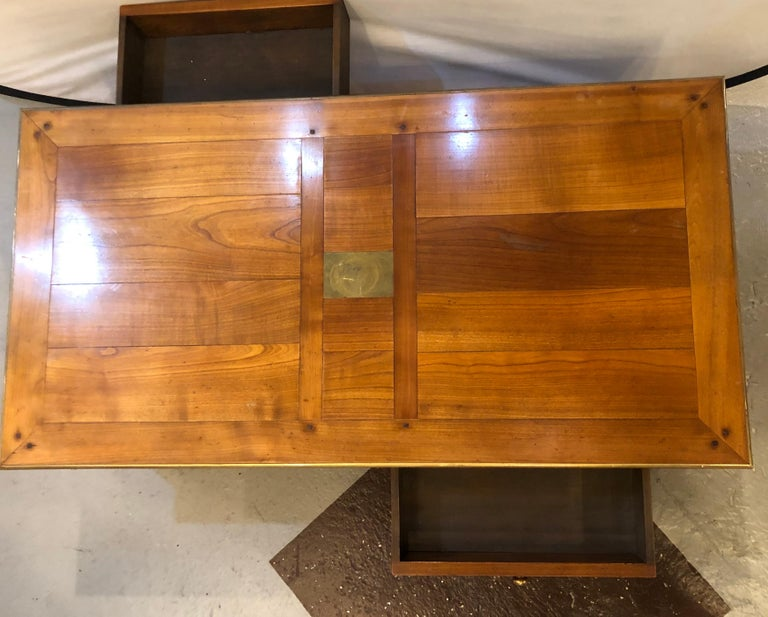 Custom handmade coffee table, dowel construction opposing drawers. This rustic bronze mounted coffee or low table is all hand doweled and has double drawers opening on each end of the table.