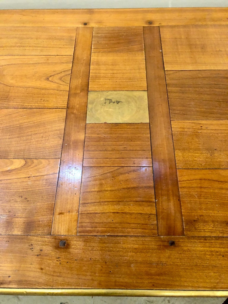 Country Modern Handmade Coffee Table, Dowel Construction with Opposing Drawers For Sale
