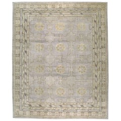 Modern Handmade Khotan Large Room Size Carpet in Grey Purple