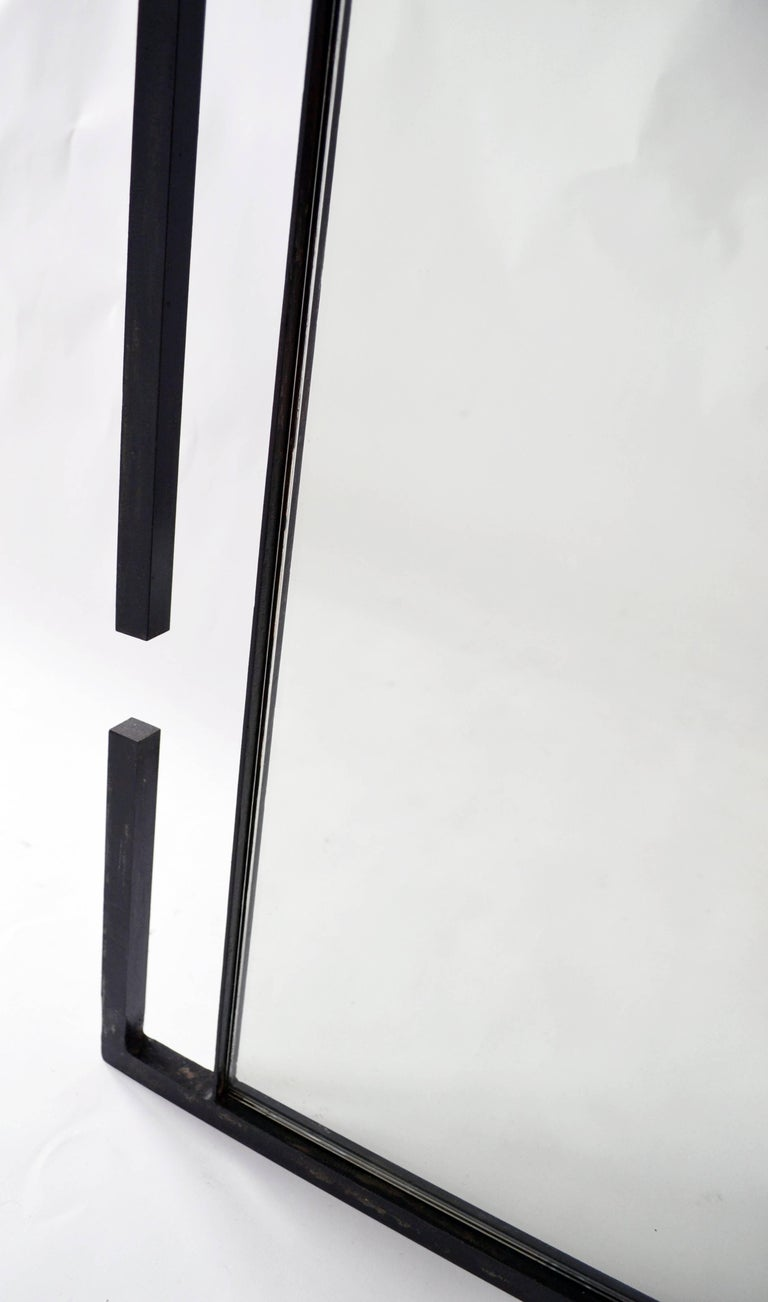 American Wall or Floor Mirror Modern Minimalist Breaks Dramatic Geometric Blackened Steel For Sale