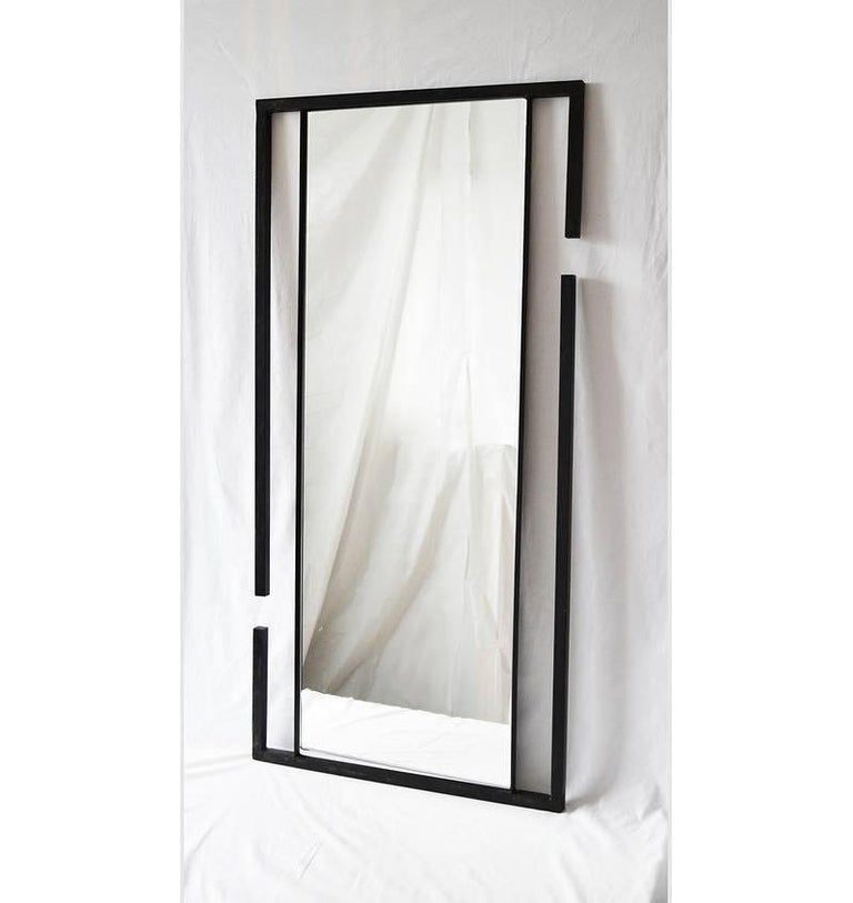 Cast Wall or Floor Mirror Modern Minimalist Breaks Dramatic Geometric Blackened Steel For Sale