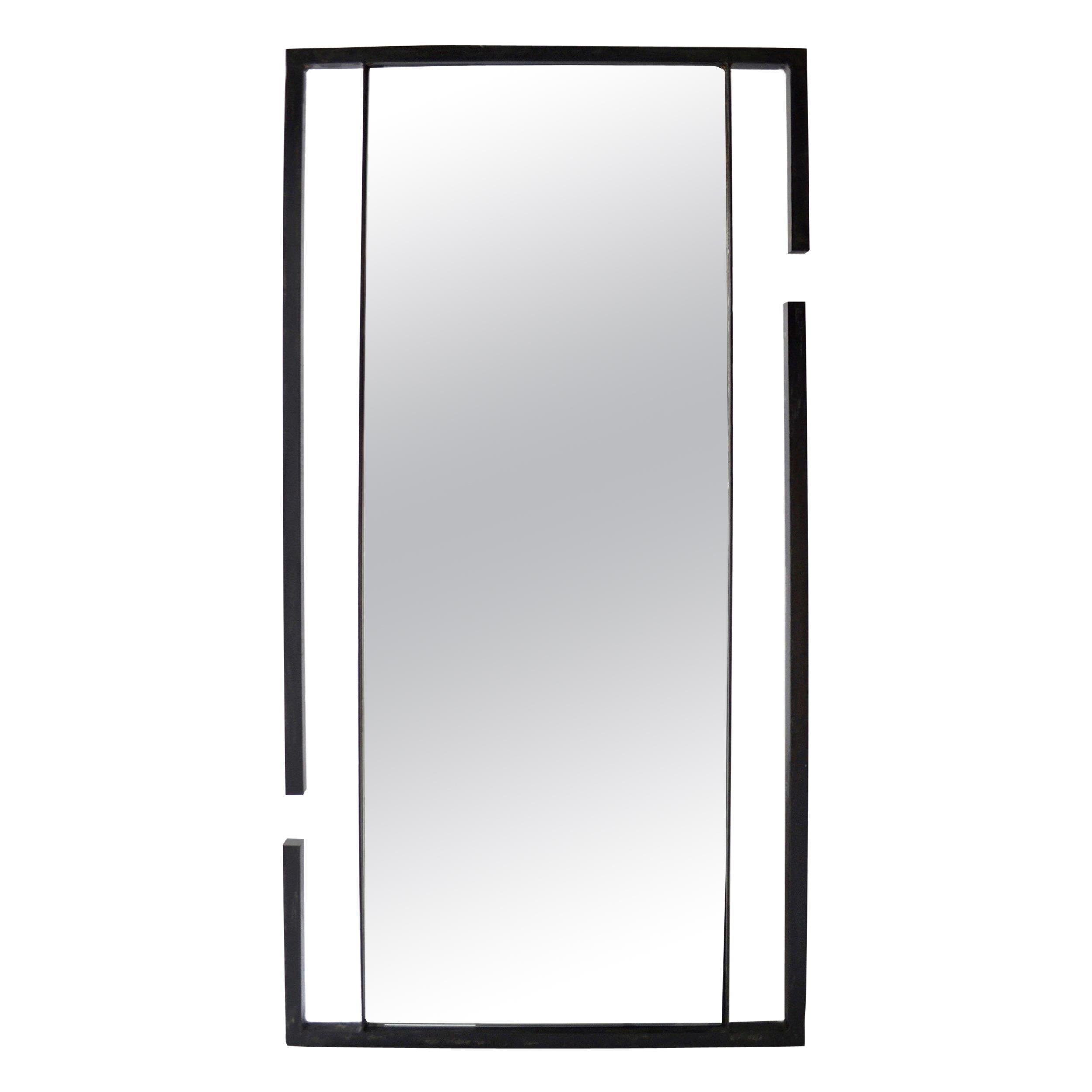 Wall or Floor Mirror Modern Minimalist Breaks Dramatic Geometric Blackened Steel
