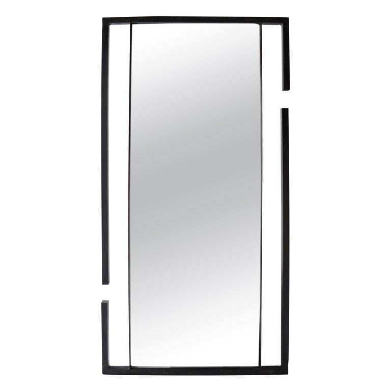 Wall or Floor Mirror Modern Minimalist Breaks Dramatic Geometric Blackened Steel For Sale