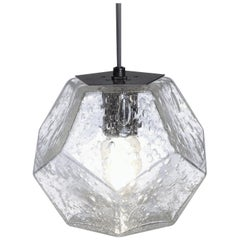 Modern Handmade Glass Lighting, Hedron Series Pendant in Bubbled Glass