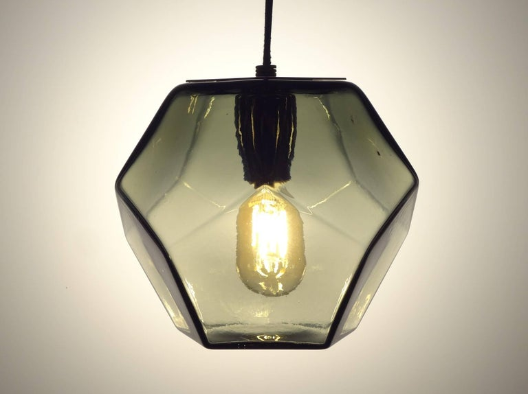 Molded Modern Handmade Glass Lighting - Hedron Series Pendant in Gold, Customizable For Sale