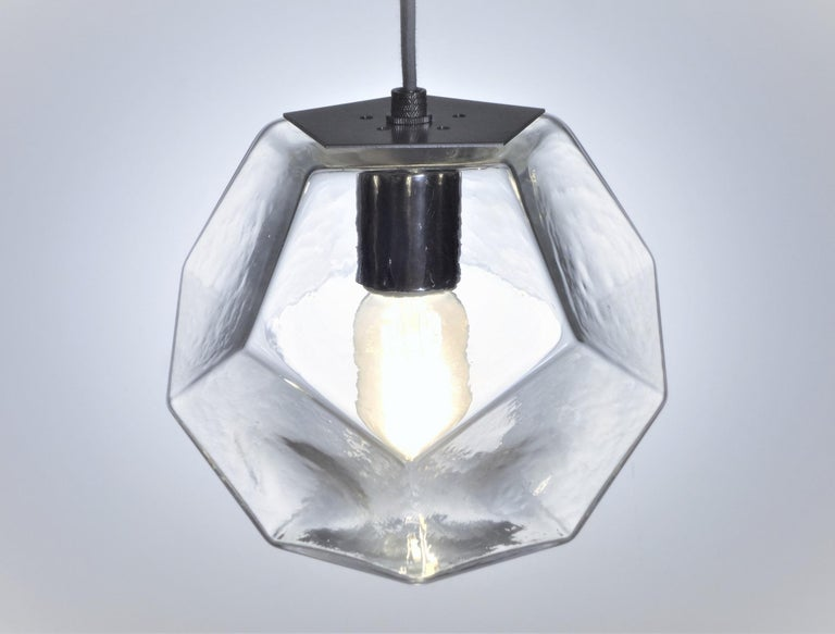 Modern Handmade Glass Lighting - Hedron Series Pendant in Gold, Customizable In New Condition For Sale In New York, NY