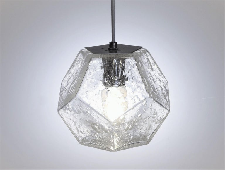 Contemporary Modern Handmade Glass Lighting - Hedron Series Pendant in Gold, Customizable For Sale