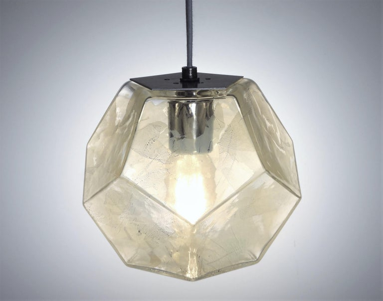 Blown Glass Modern Handmade Glass Lighting - Hedron Series Pendant in Gold, Customizable For Sale