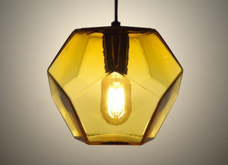 Contemporary Modern Handmade Glass Lighting - Hedron Series Pendant in Silver Leaf For Sale