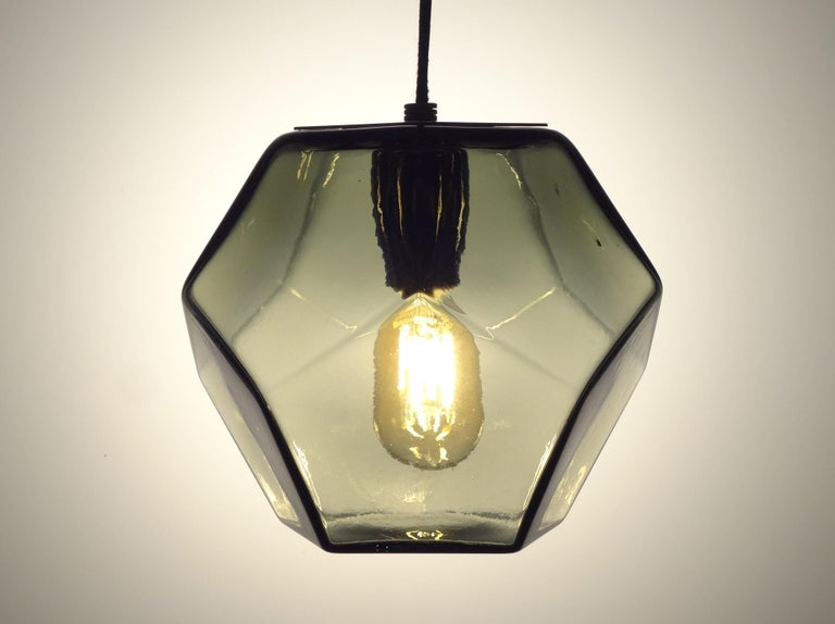 Blown Glass Modern Handmade Glass Lighting - Hedron Series Pendant in Silver Leaf For Sale