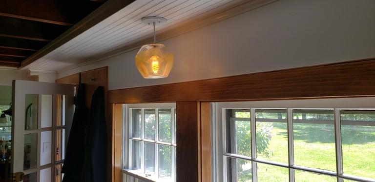 Modern Handmade Glass Lighting - Hedron Series Pendant in Silver Leaf For Sale 1