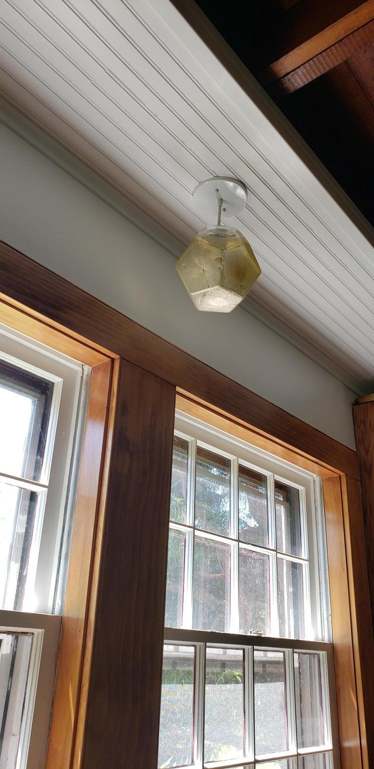 Modern Handmade Glass Lighting - Hedron Series Pendant in Silver Leaf For Sale 2