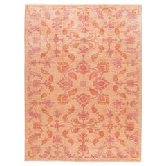 Modern Handmade Peach and Orange Floral Wool Rug