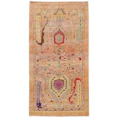 Modern Handmade Peach Color Handmade Wool Rug