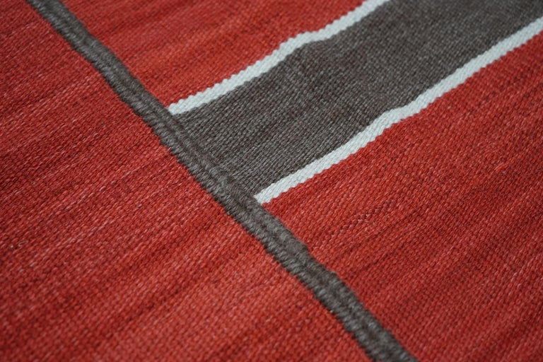 Egyptian Modern Handwoven Red Kilim Rug with Minimalist Design For Sale